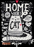 Home is where a cat is, a chalkboard design in counted cross stitch kit