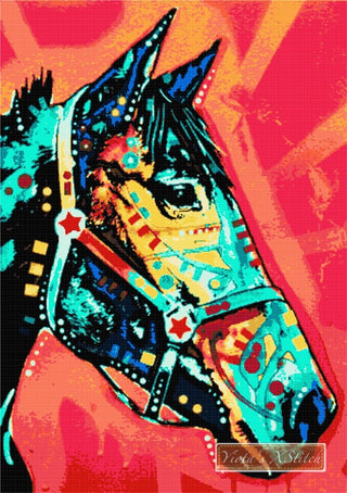 A horse in a red background, modern counted cross stitch kit.