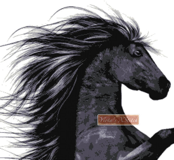 Black horse (No5) counted cross stitch kit