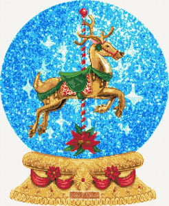 Horse carousel snow globe counted cross stitch kit
