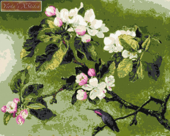 Hummingbird and apple blossoms counted cross stitch kit