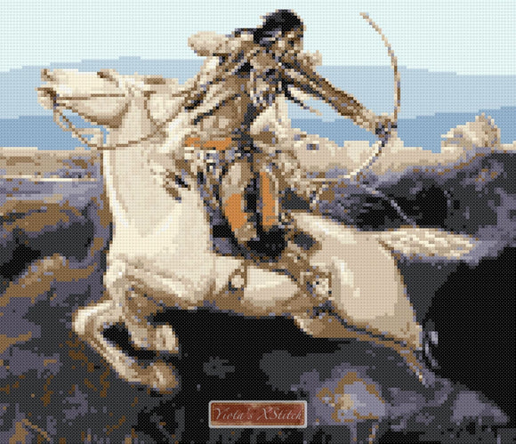 Indian hunting by Charles Marion Russell in counted cross stitch kit