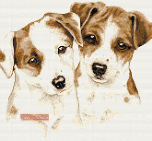 Jack Russell puppies (v2) counted cross stitch kit