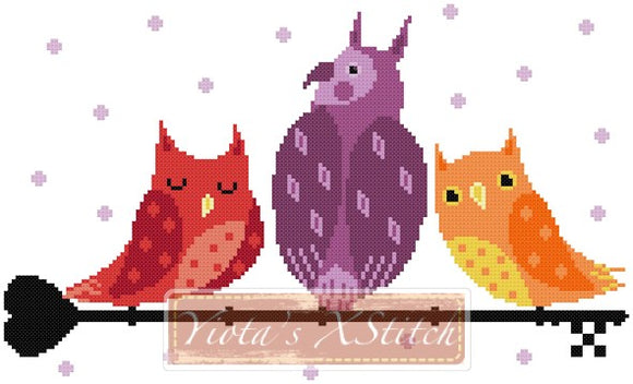Key owls counted cross stitch kit