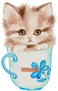 Kitten in a cup counted cross stitch kit
