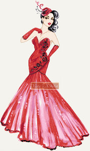 Lady in red dress counted cross stitch kit