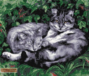 Lazy afternoon for two black and white cats in counted cross stitch kit