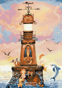 Lighthouse mermaids counted cross stitch kit