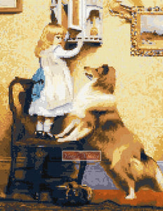 Little girl with sheltie (v2) counted cross stitch kit
