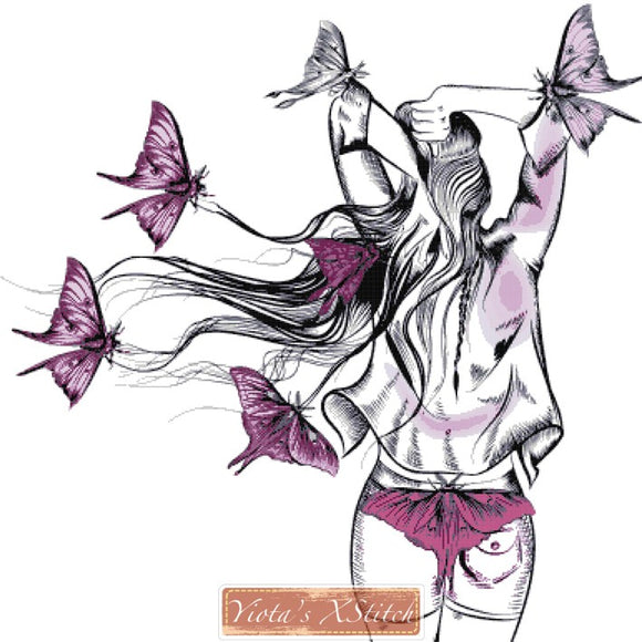 Long haired butterfly girl counted cross stitch kit
