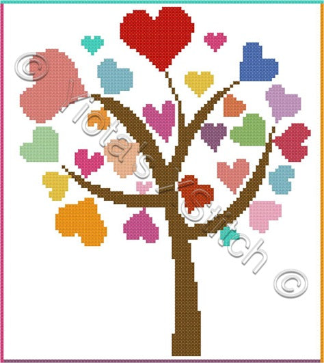Love tree counted cross stitch kit