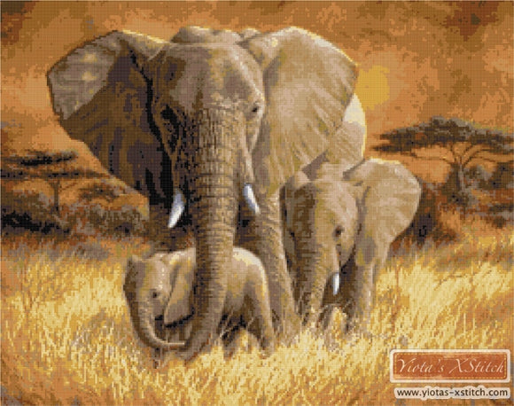 Loving mother elephant counted cross stitch kit