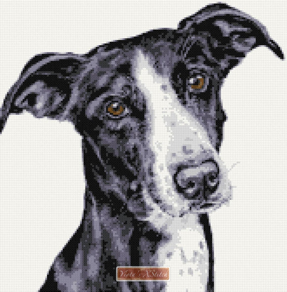 Lurcher counted cross stitch kit