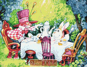 Mad Hatter and bunny from Alice in wonderland counted cross stitch kit