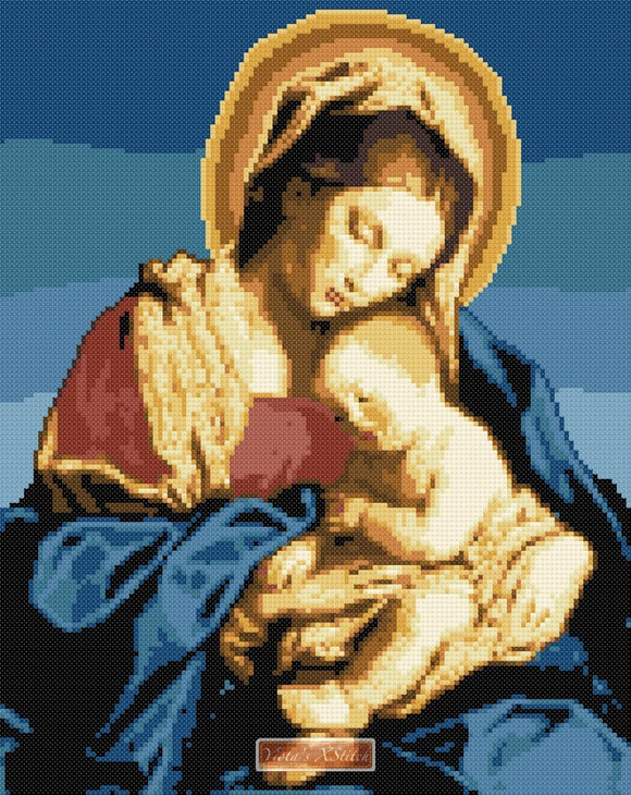 Madonna and child (v2) Safforerrato counted cross stitch kit