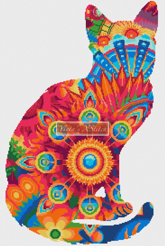 Mandala cat No1 counted cross stitch kit