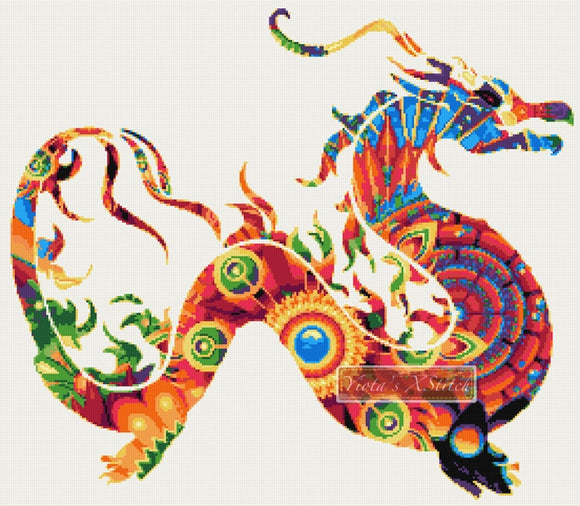 Mandala dragon counted cross stitch kit
