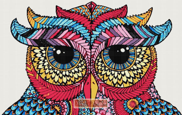 Mandala owl No2 counted cross stitch kit