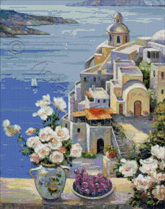 Mediterranean roses, a beautiful Santorini seascape cross stitch kit