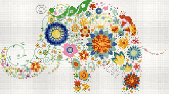 Modern elephant cross stitch kit