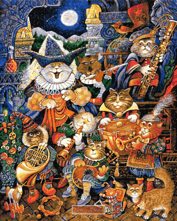 Moon light serenade, a cats design large and advanced counted cross stitch kit.