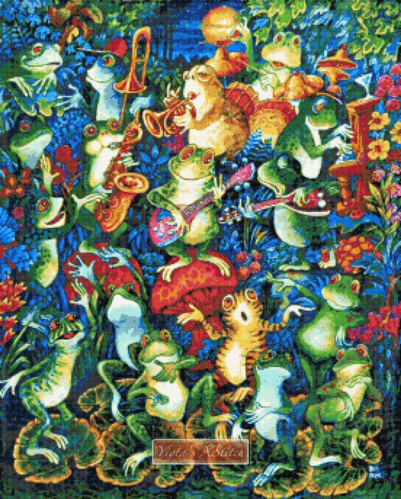 Moon dance, frogs dancing. Llarge and advanced counted cross stitch kit