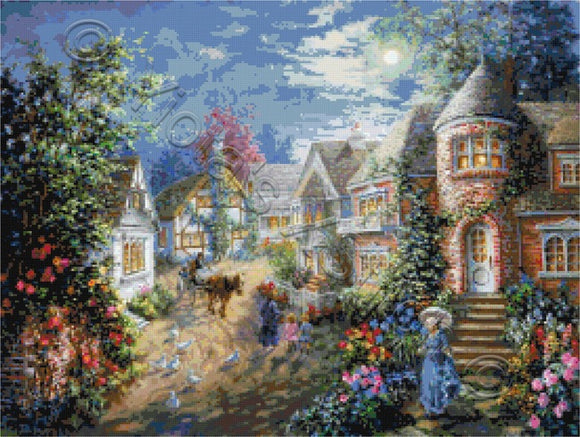 Moonlight splendour, a lady taking a walk in counted cross stitch kit