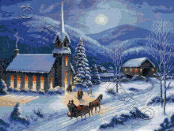 Moonlight in Vermont, Victorian winter Christmas counted cross stitch kit
