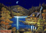 Moonlit cabin, a beautiful scenery of a cottage in the woods.