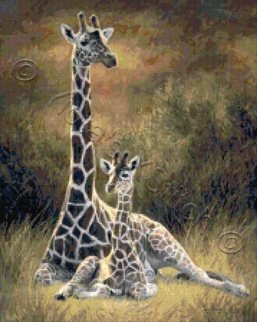 Mother giraffe and son counted cross stitch kit