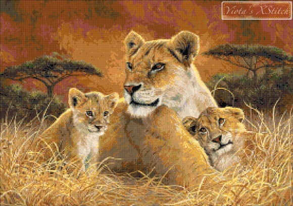 Motherly lion with cubs counted cross stitch kit