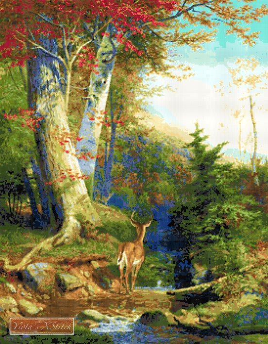 Mountain stream and deer counted cross stitch kit