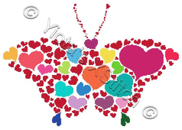 Multi heart butterfly counted cross stitch kit