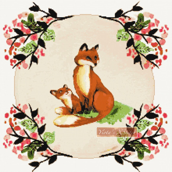 Fox mum and baby counted cross stitch kit