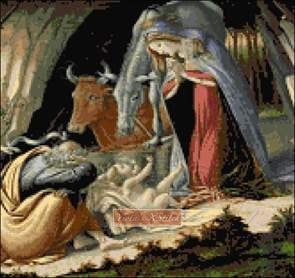 Mystic nativity by Botticelli counted cross stitch kit