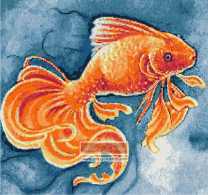 Fish Natures cradle detail counted cross stitch kit