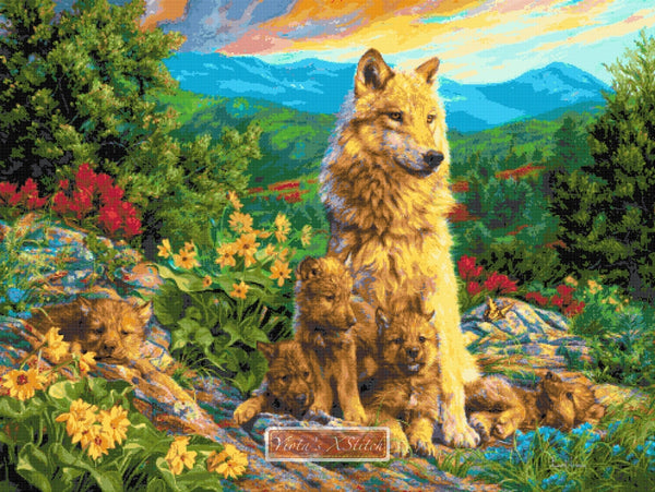 New generation wolf family counted cross stitch kit
