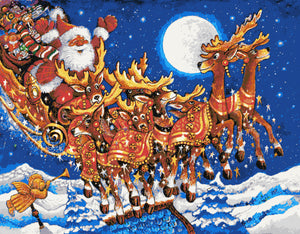 Santa with reindeers large and advanced counted cross stitch kit