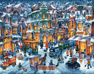 Old city snow Bill Bell counted cross stitch kit