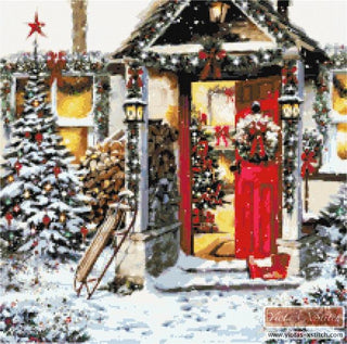 Open door Christmas counted cross stitch kit