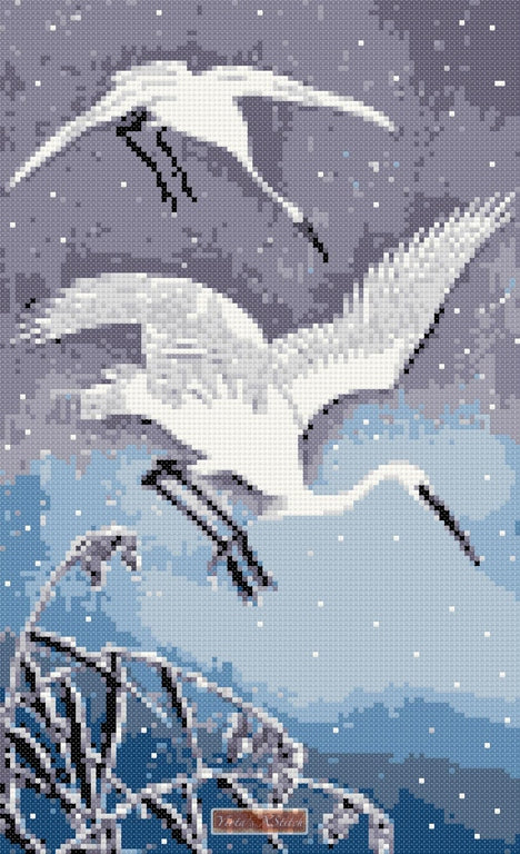 Oriental cranes counted cross stitch kit