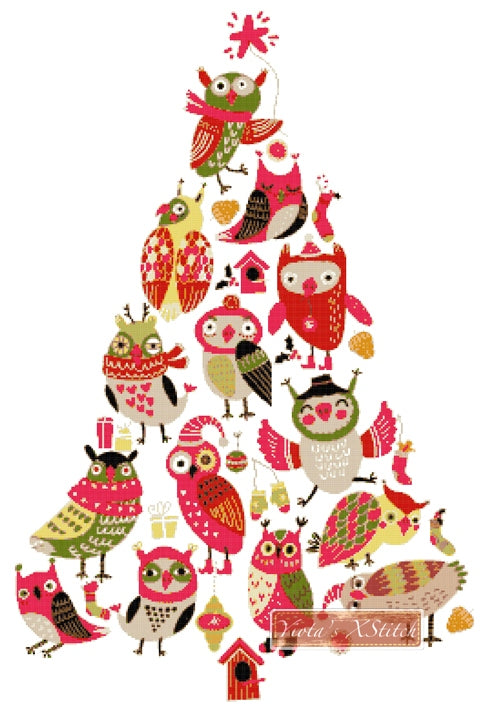 Owl Christmas tree counted cross stitch kit