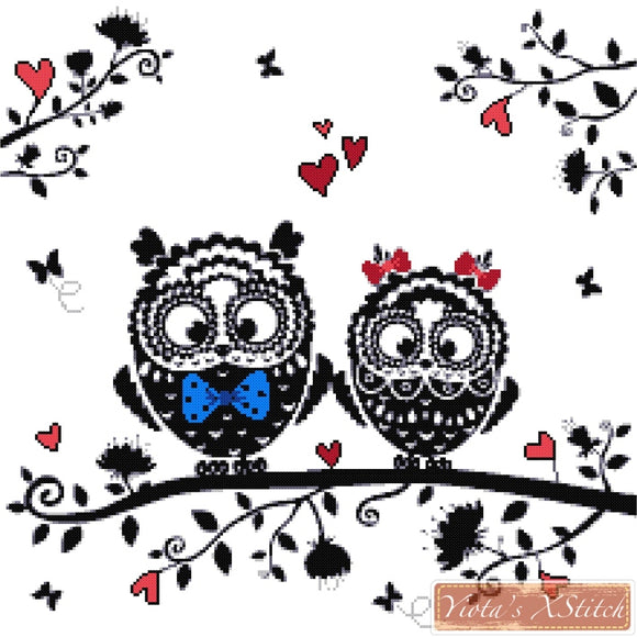 Owl couple counted cross stitch kit