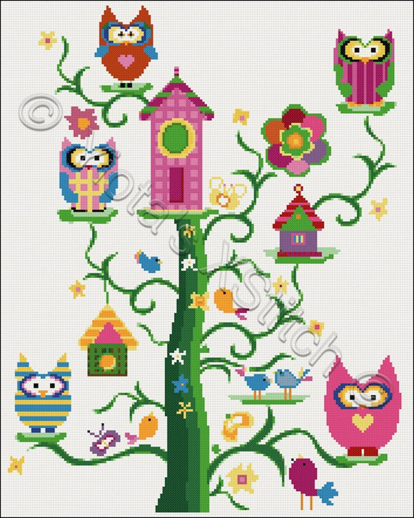 Family owl counted cross stitch kit