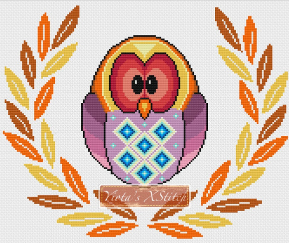 Owl in leaves wreath counted cross stitch kit