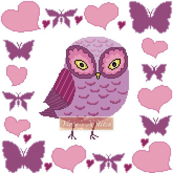Owl with hearts and butterflies counted cross stitch kit
