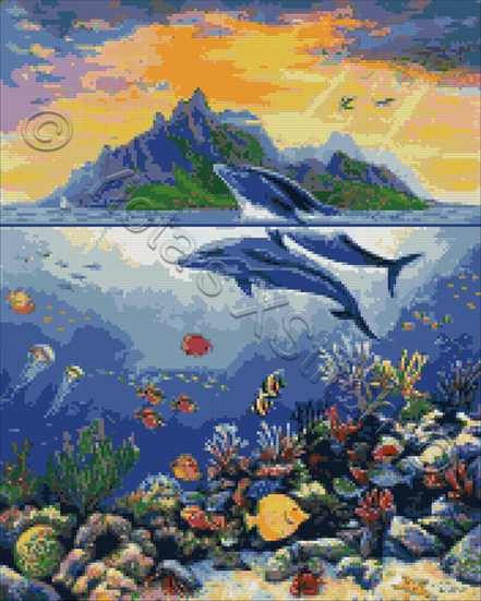 Paradise with dolphins counted cross stitch kit