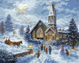 Parents pray, children play, Christmas tree counted cross stitch kit