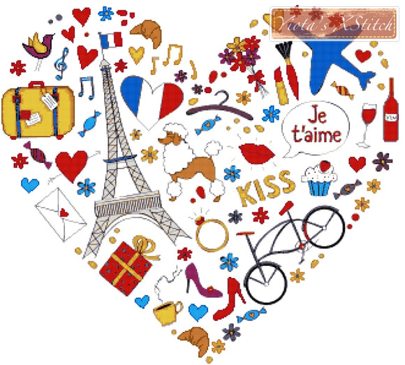 Paris heart counted cross stitch kit