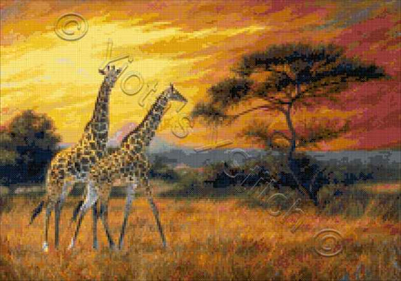 Passing through giraffes counted cross stitch kit